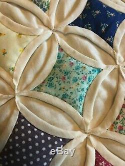 Vtg Hand Stitched Hand Made Cotton day Bed or Queen Bed Quilt Colors 88x77