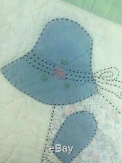 Vtg Hand Stitched Sunbonnet Sue Handmade Embroidered Quilt 90 X 76 Antique
