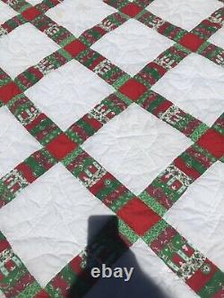 Vtg Handcrafted Quilt King Christmas Fabrics Holiday Handmade