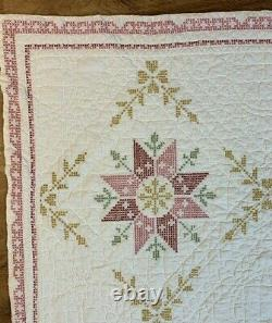 Vtg Handmade Cross Stitched EMBROIDERED QUILTS (2) Twin SIngle Gold Pink 64x 87