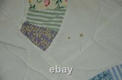 Vtg Handmade Double Wedding Ring Quilt 86x98 Lace Applique Handsewn w Provenance