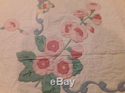 Vtg Handmade Patchwork Quilt Coverlet Dark Pink/LT Pink Flowers 74 x 93