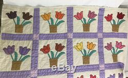 Vtg Handmade Patchwork Quilt Twin Bedspread Throw Blanket Tulip Flowers Purple +