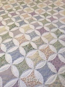 Vtg Handmade Queen Patchwork Quilt Set Pillow Shams Pastels Pink Green Diamonds