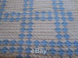 Vtg Light Blue/White Postage Stamp Quilt-Twin Size-Handmade-Hand Quilted-102x64