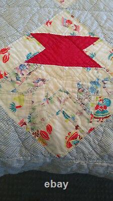 Vtg Quaint Handmade Patchwork Blue Floral DIAMOND Cotton Queen Quilt 88x75