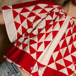 Vtg antique handmade AMERICANA pieced paper QUILT cotton trapeze ooak blouse top