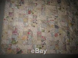 Vtg handmade cotton patchwork squares quilt, pastel pink blue white green floral