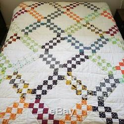 Vtg original Handmade patchwork Queen quilt Small blocks Irish Chain 82x66