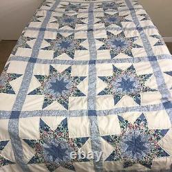 WOW! Vintage Handmade Star Arch Quilt Blanket Bedspread Queen Floral 83 x 99