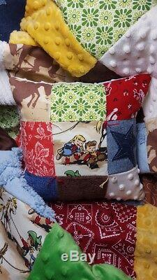 Western Cowboy Cowgirl Rodeo Rustic Vintage Chenille Baby Quilt Crib Bedding set